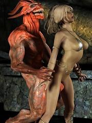 3D Girl grab cock till...