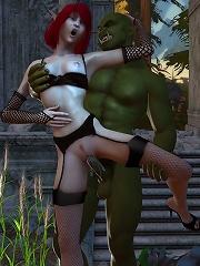 3D Girl on knees gets...
